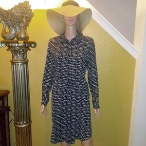 New Prologue black long sleeve belted dress Small